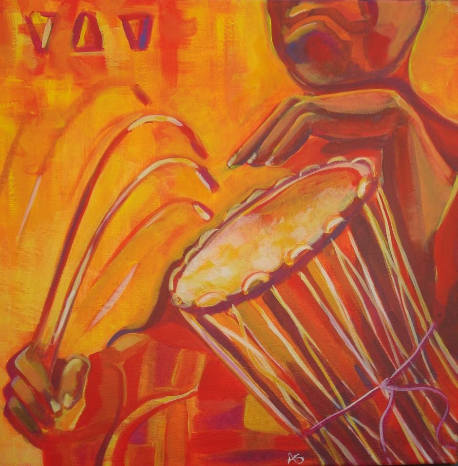 """Talking Drum,"" oil on canvas"