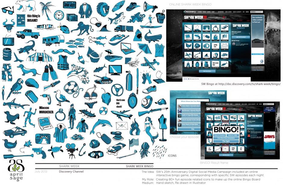 SHARK WEEK BINGO Tile Illustrations - Illustrator